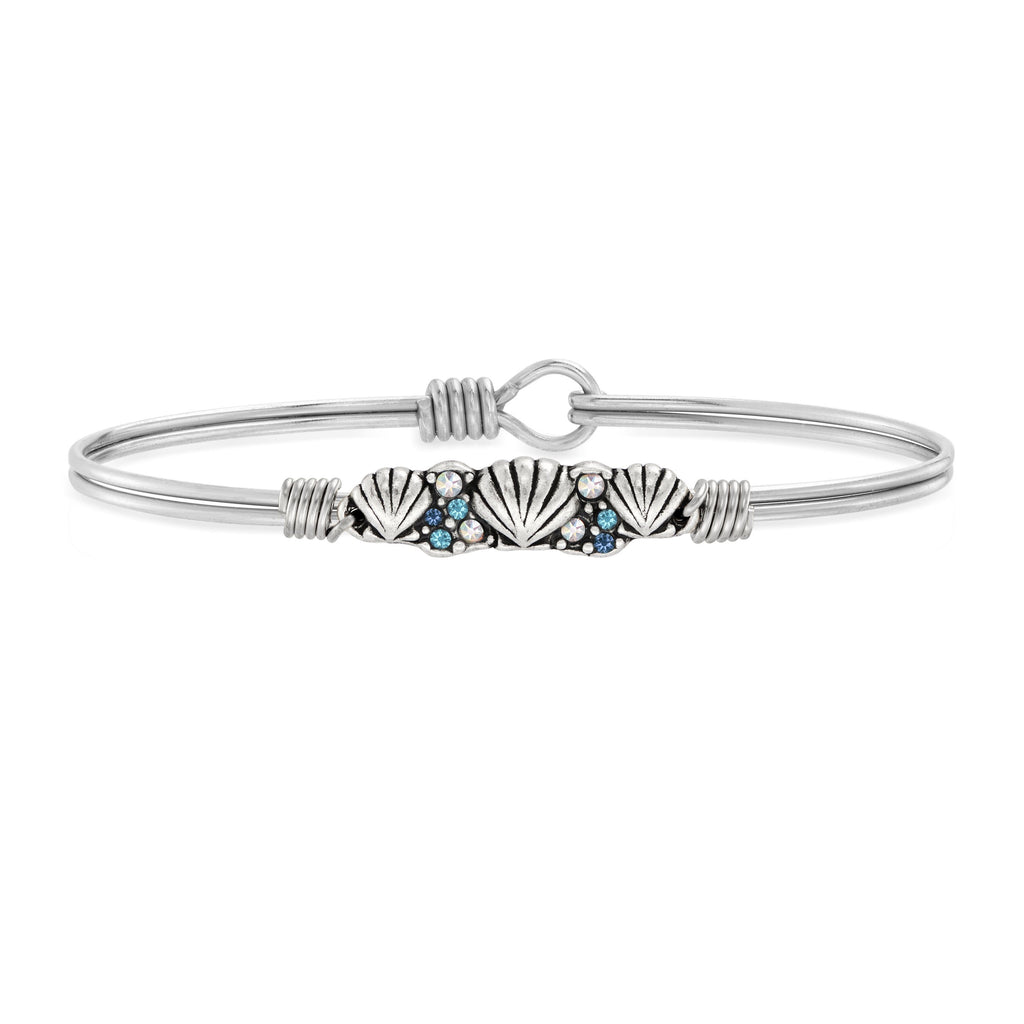 Shell Medley Bangle Bracelet choose finish:Silver Tone
