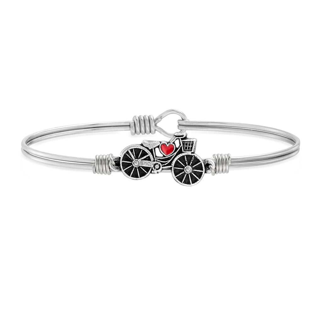 Enjoy the Ride Bicycle Bangle Bracelet choose finish:Silver Tone