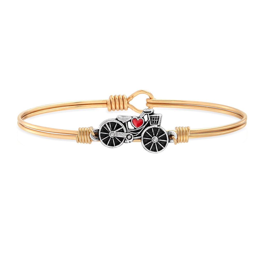 Enjoy the Ride Bicycle Bangle Bracelet choose finish:Brass Tone