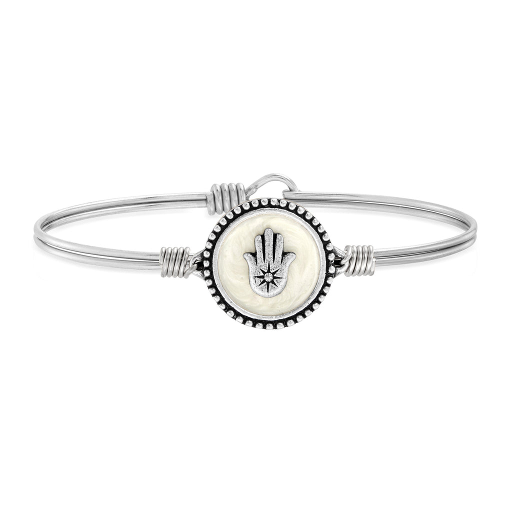 Hamsa Bangle Bracelet choose finish:Silver Tone