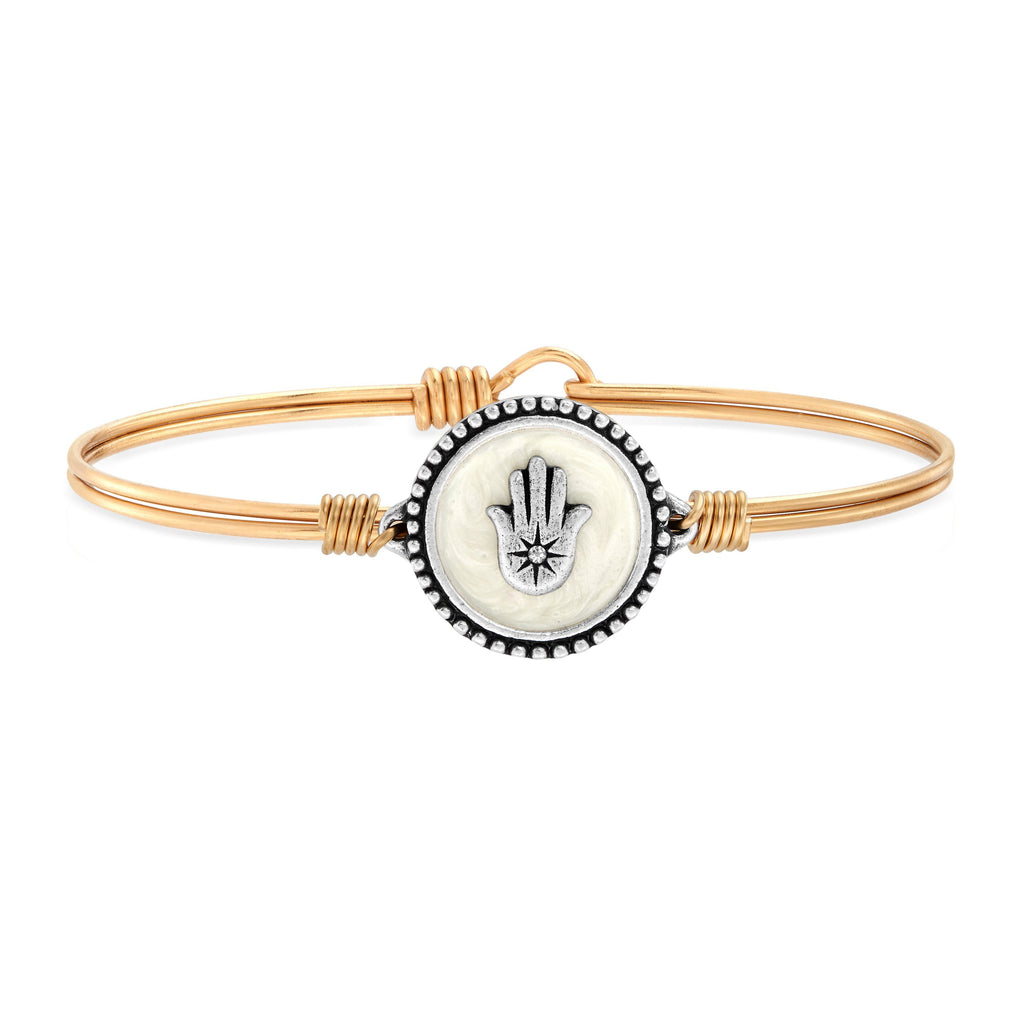 Hamsa Bangle Bracelet choose finish:Brass Tone