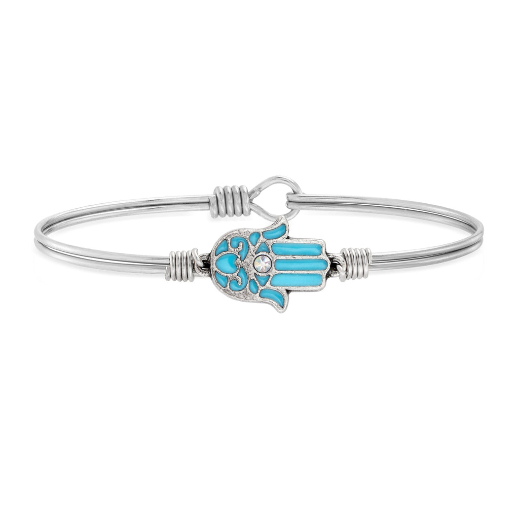 Filigree Hamsa Bangle Bracelet choose finish:Silver Tone