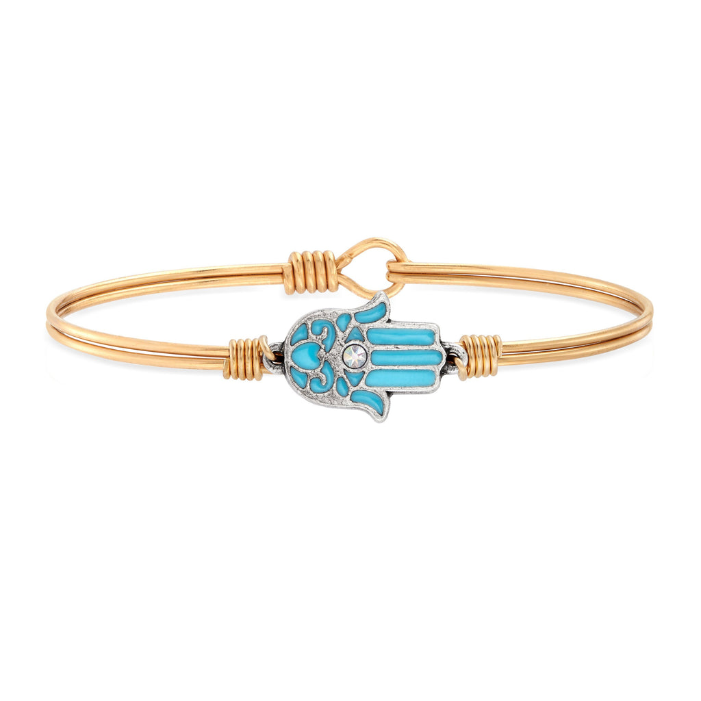 Filigree Hamsa Bangle Bracelet choose finish:Brass Tone