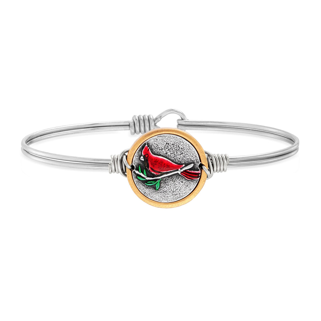 Red Cardinal Bangle Bracelet choose finish:silver tone
