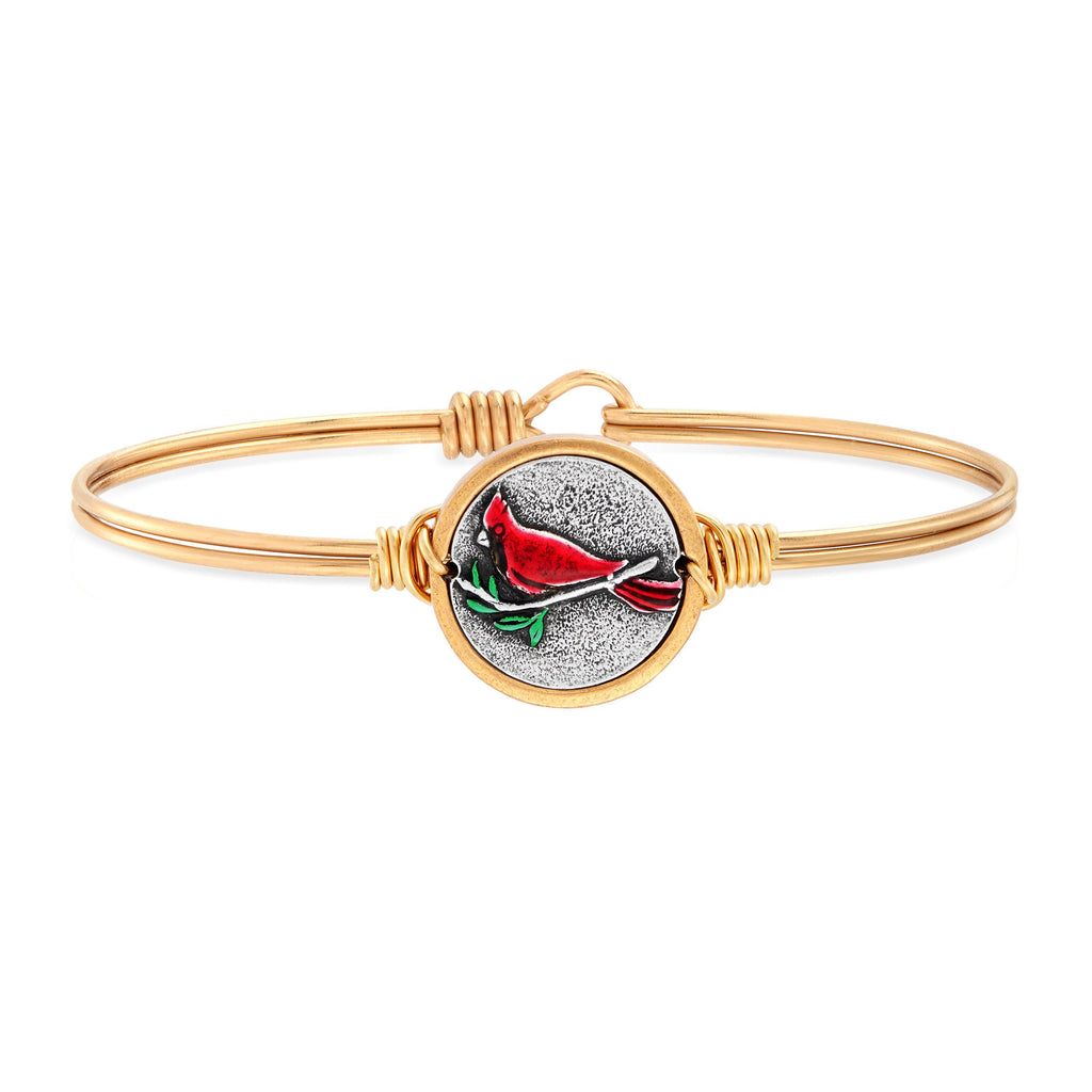 Red Cardinal Bangle Bracelet choose finish:brass tone