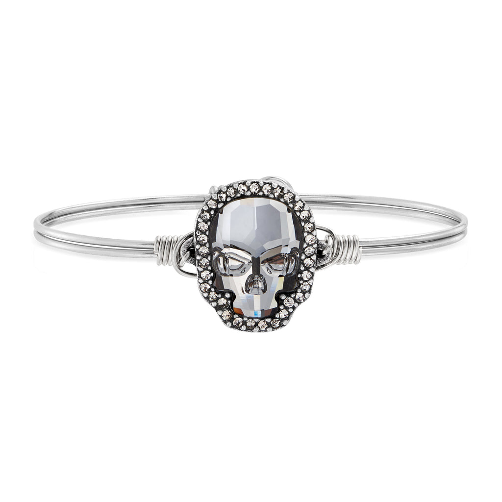 Crystal Pave Skull Bangle Bracelet in Silver Night choose finish:Silver Tone