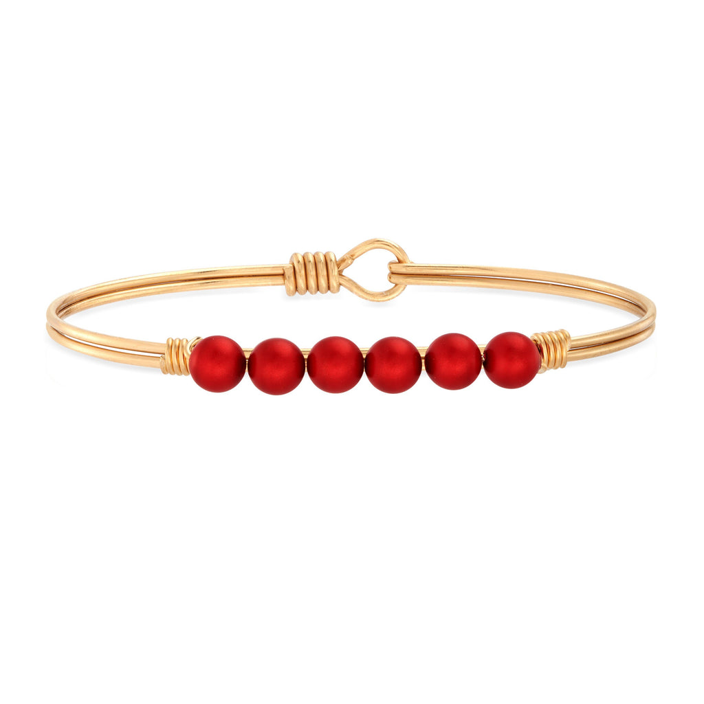 Crystal Pearl Bangle Bracelet in Scarlet choose finish:brass tone