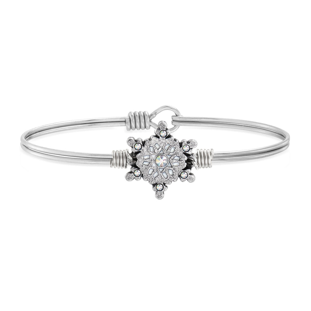 Sparkling Snowflake Bangle Bracelet choose finish:silver tone
