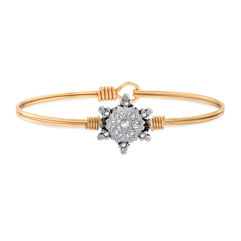 Sparkling Snowflake Bangle Bracelet choose finish:brass tone