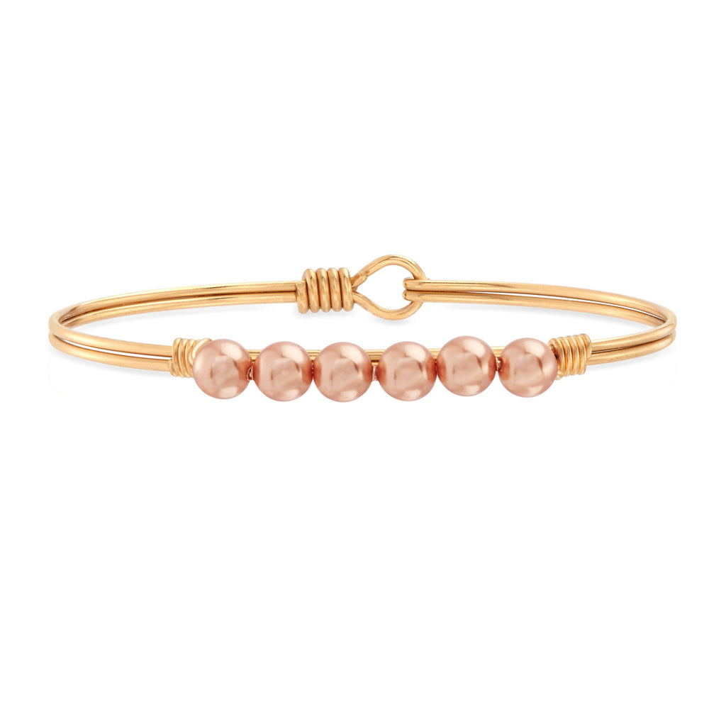Crystal Pearl Bangle Bracelet in Rose Gold choose finish:brass tone