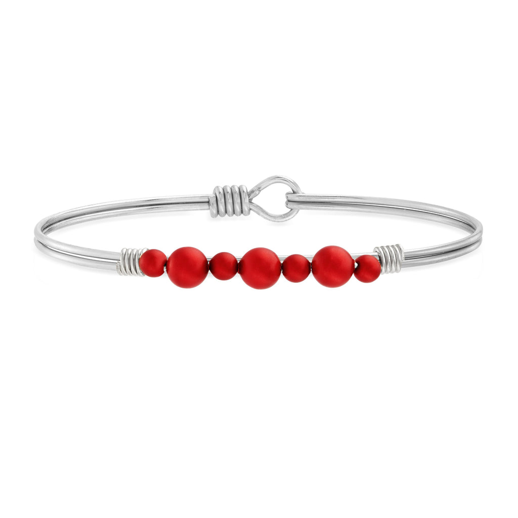 Crystal Holiday Pearl Bangle Bracelet in Scarlet choose finish:silver tone