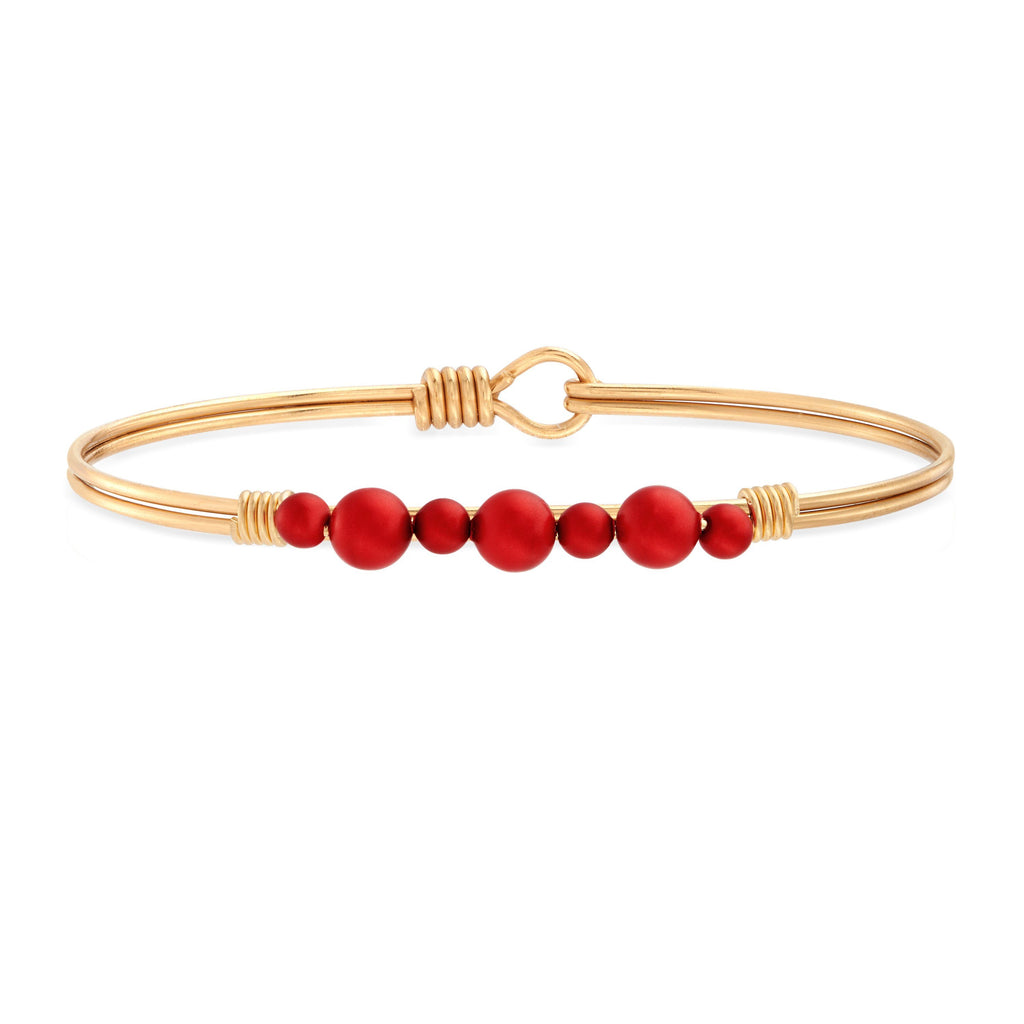 Crystal Holiday Pearl Bangle Bracelet in Scarlet choose finish:brass tone