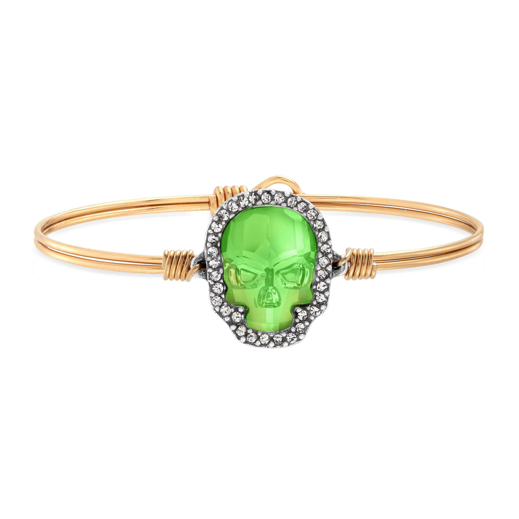 Crystal Pave Skull Bangle Bracelet in Witches Brew choose finish:Brass Tone