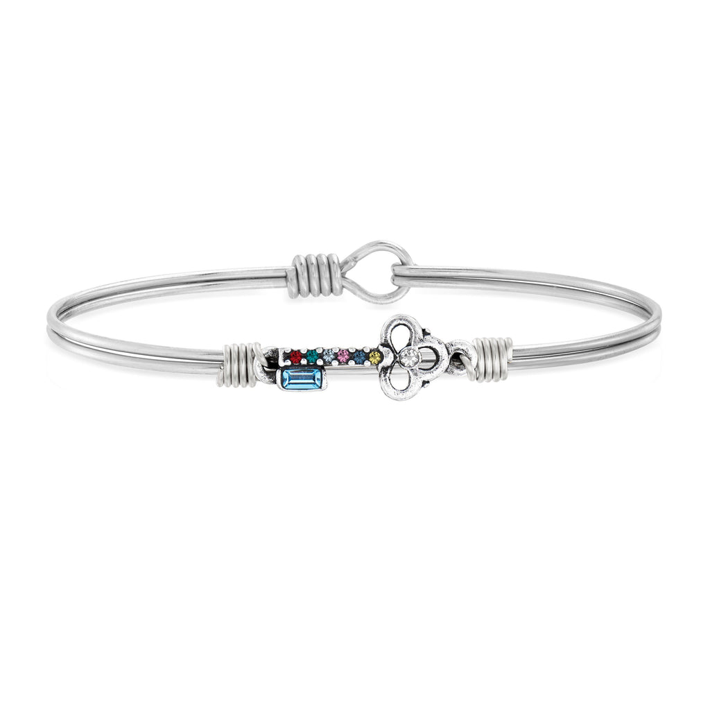 Key Bangle Bracelet in Rainbow choose finish:Silver Tone
