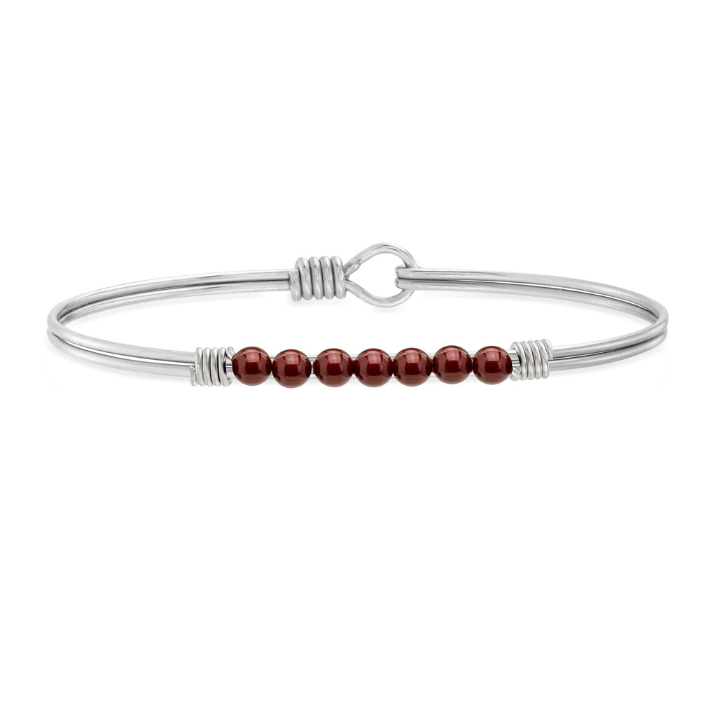 Petite Crystal Pearl Bangle Bracelet in Merlot choose finish:Silver Tone