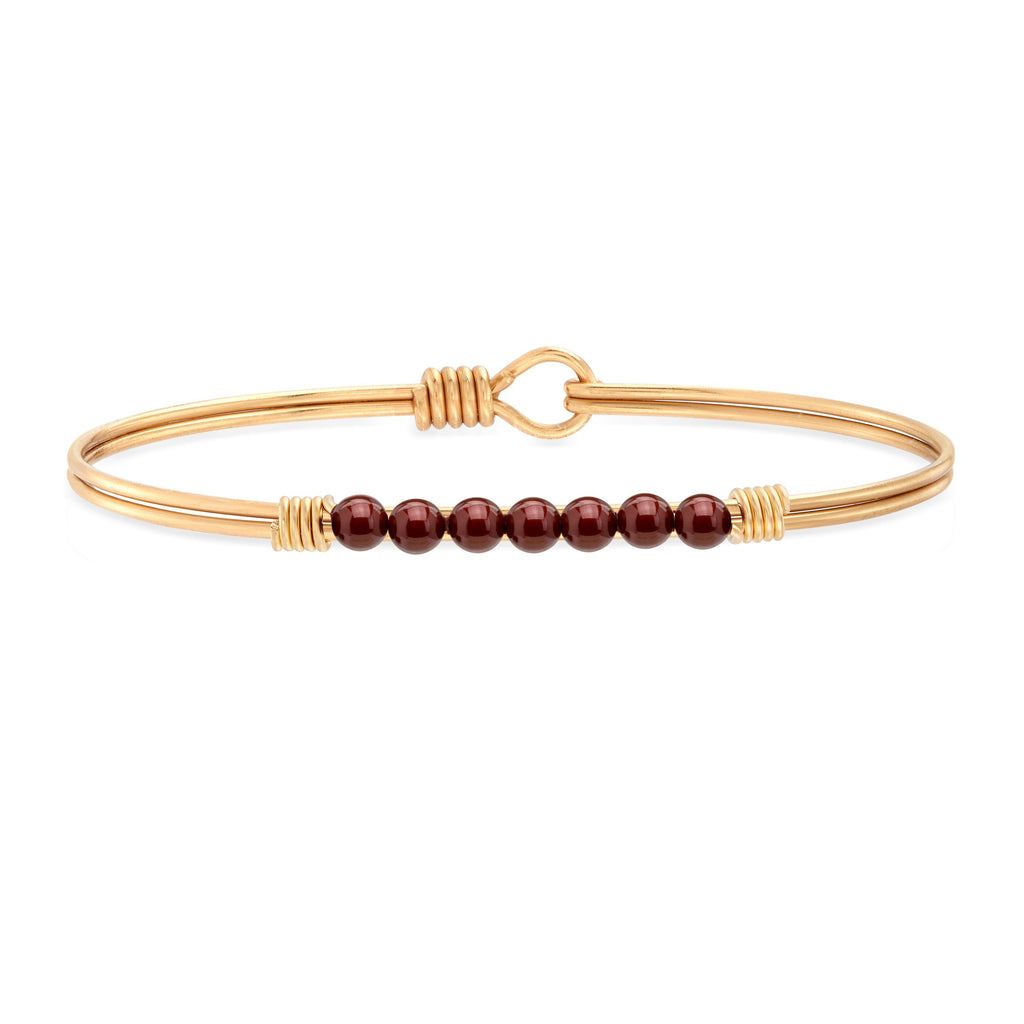 Petite Crystal Pearl Bangle Bracelet in Merlot choose finish:Brass Tone