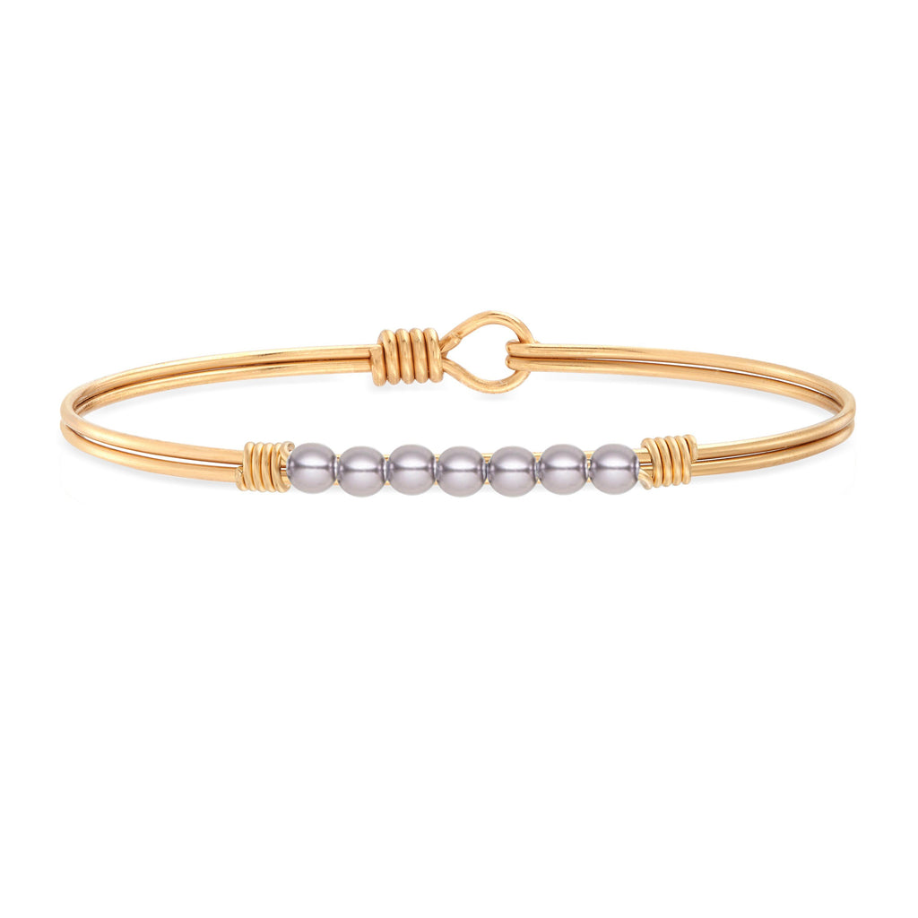 Petite Crystal Pearl Bangle Bracelet in Mauve choose finish:Brass Tone