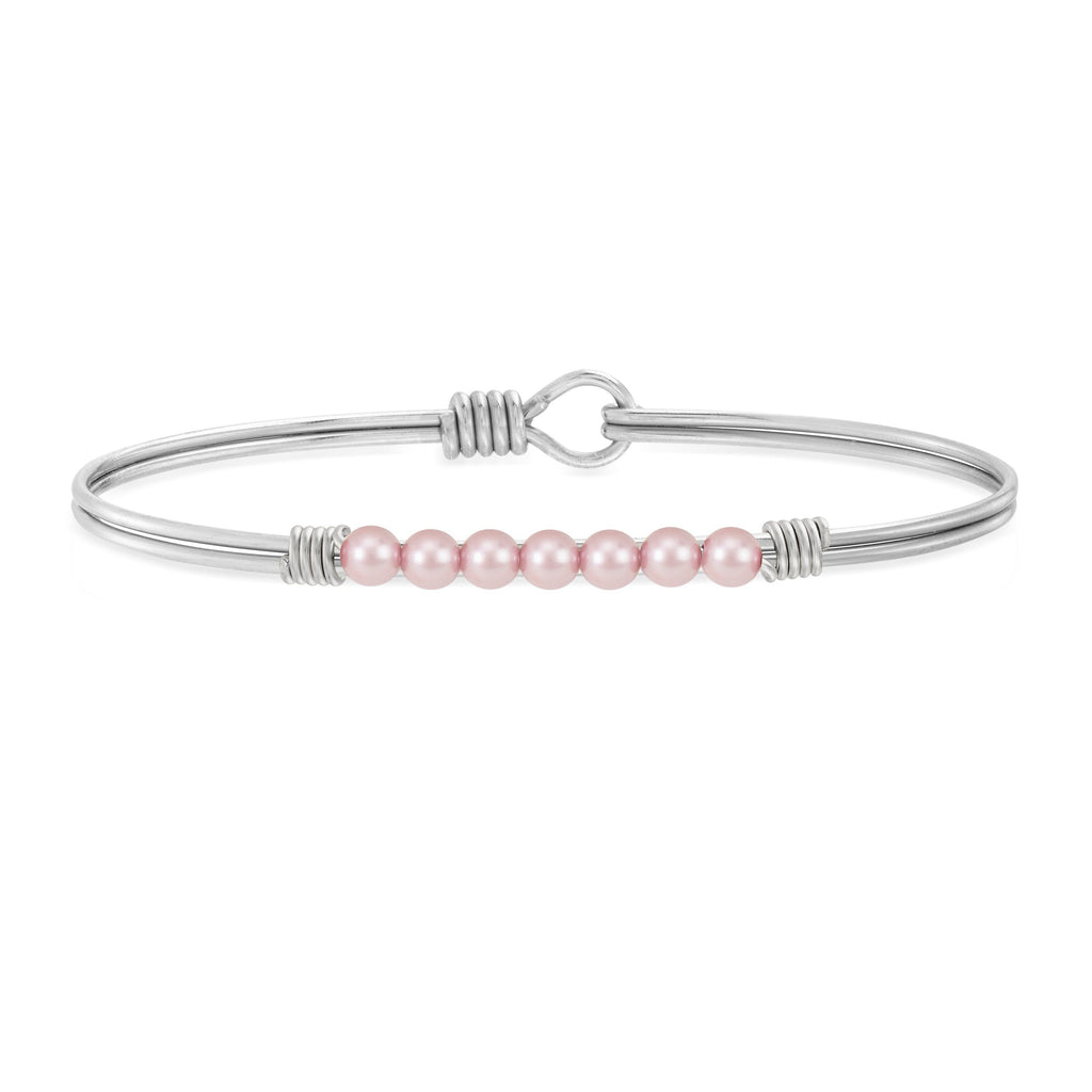 Petite Crystal Pearl Bangle Bracelet in Rose choose finish:Silver Tone
