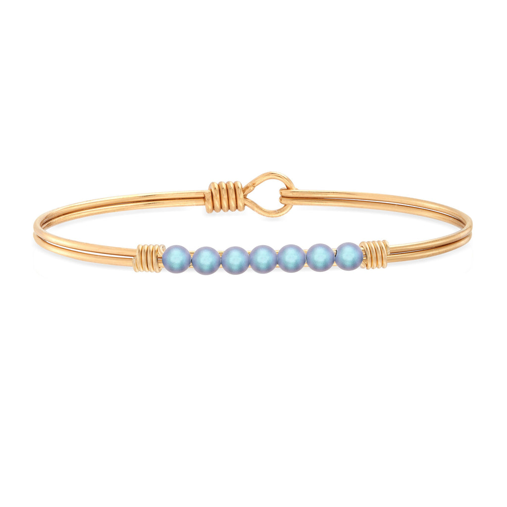 Petite Crystal Pearl Bangle Bracelet in Iridescent Light Blue choose finish:Brass Tone