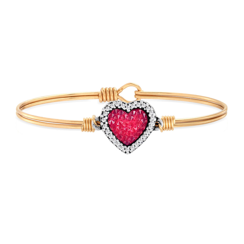Heart Bangle Bracelet with Red Crystal Rocks choose finish:Brass Tone
