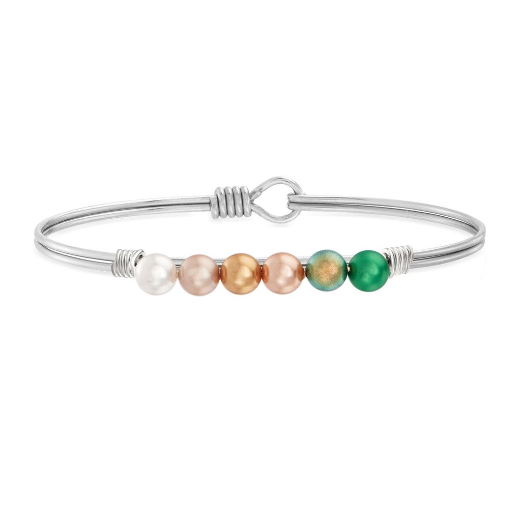 Pot o' Gold Ombre Crystal Pearl Bangle Bracelet choose finish:Silver Tone