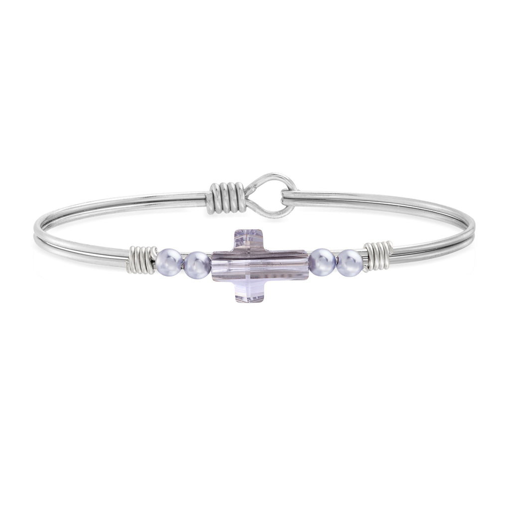 Crystal Pearl Cross Bangle Bracelet in Mauve choose finish:Silver Tone