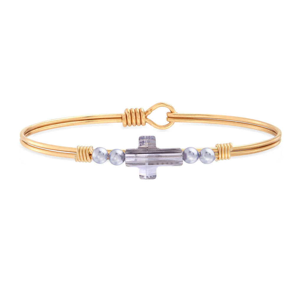 Crystal Pearl Cross Bangle Bracelet in Mauve choose finish:Brass Tone