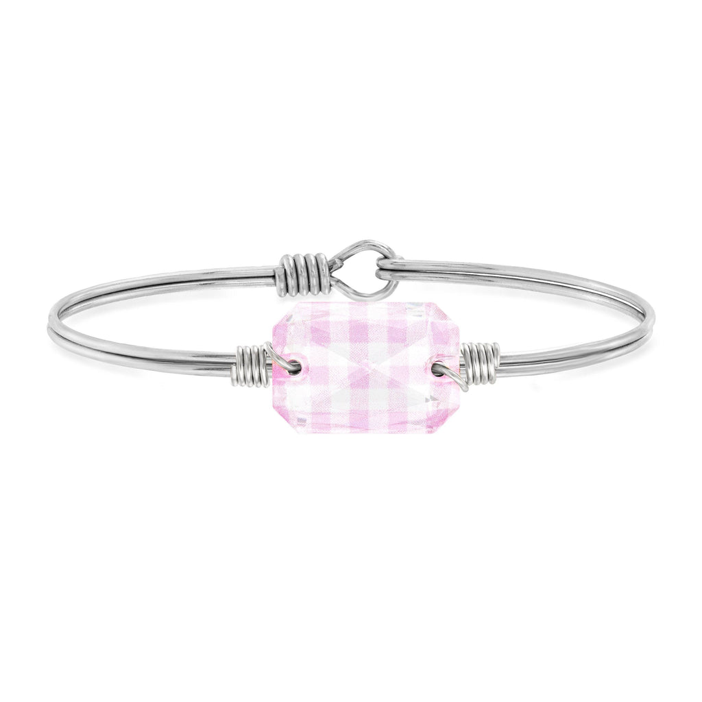 Dylan Bangle Bracelet in Pink Gingham choose finish:Silver Tone