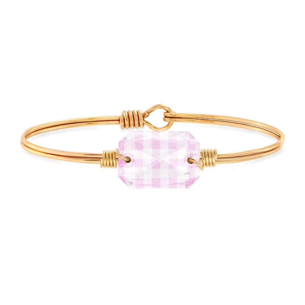 Dylan Bangle Bracelet in Pink Gingham choose finish:Brass Tone