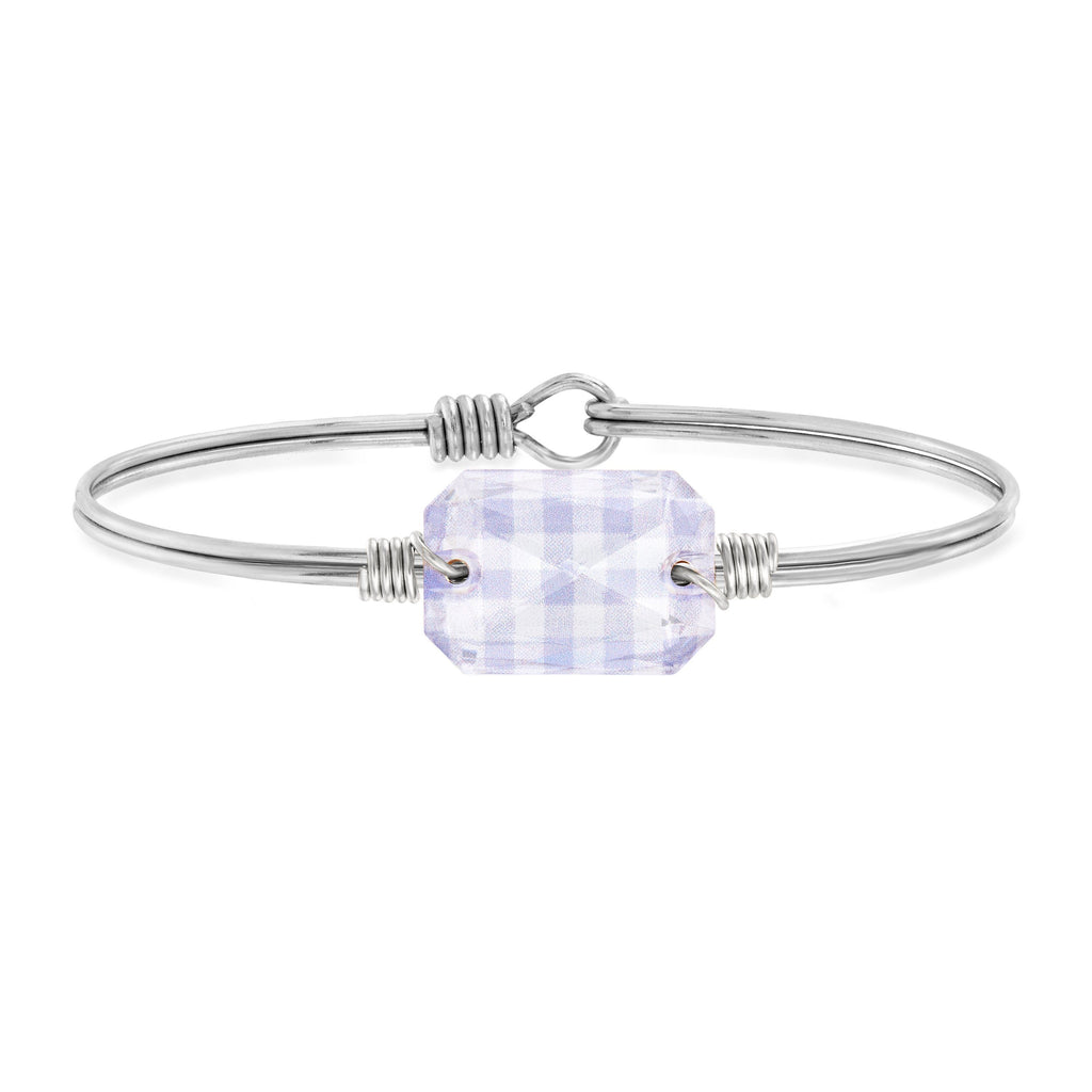 Dylan Bangle Bracelet in Lavender Gingham choose finish:Silver Tone