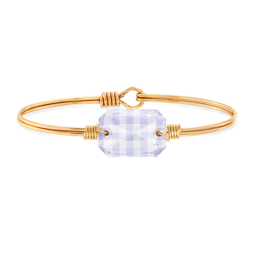 Dylan Bangle Bracelet in Lavender Gingham choose finish:Brass Tone