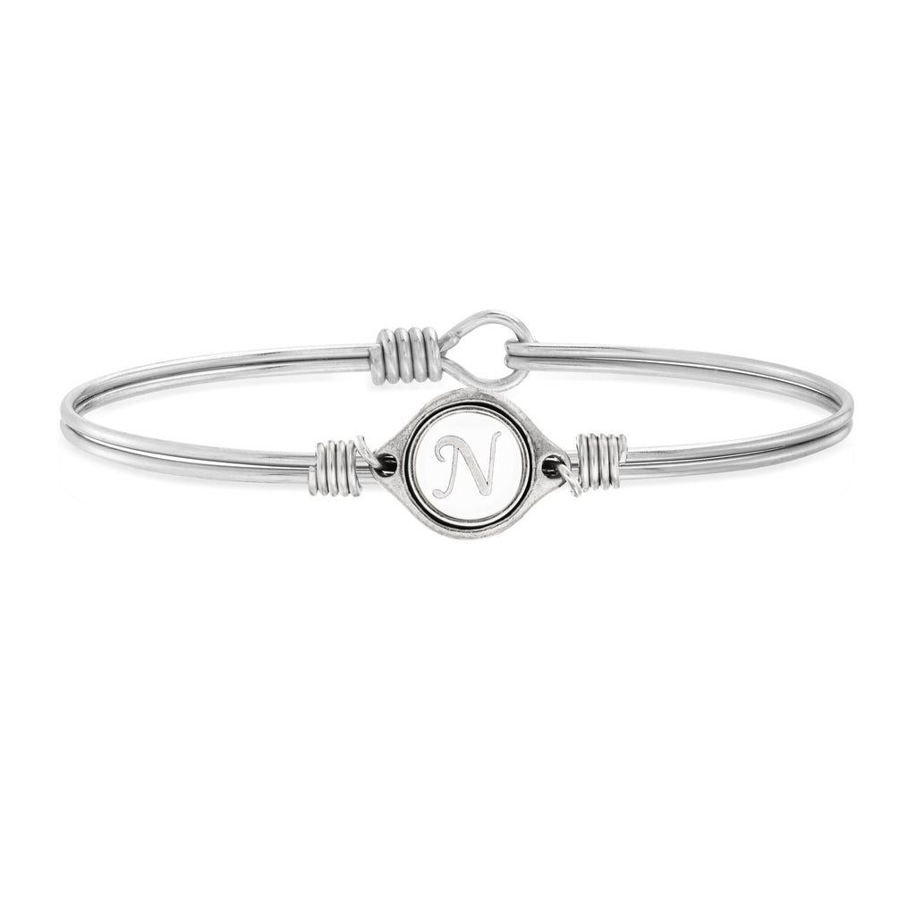 N Initial Bangle Bracelet in White choose finish:Silver Tone