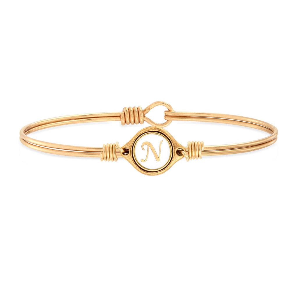 N Initial Bangle Bracelet in White choose finish:Brass Tone