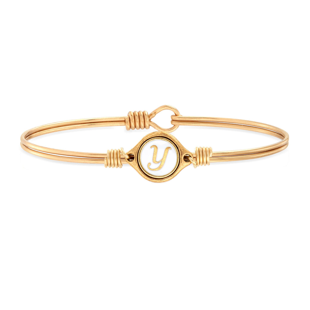 Y Initial Bangle Bracelet in White choose finish:Brass Tone