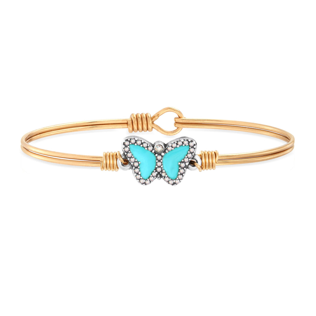 Crystal Pave Butterfly Bangle Bracelet in Teal choose finish:Brass Tone