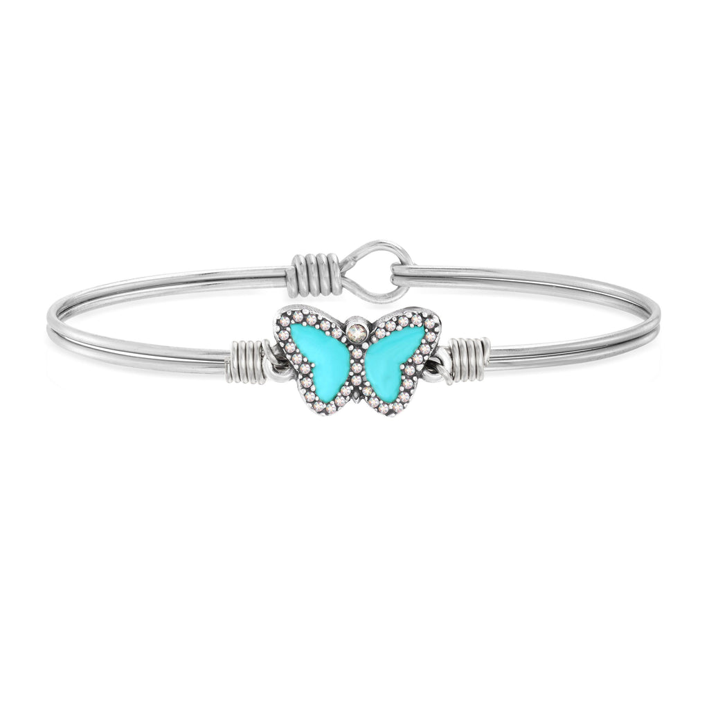 Crystal Pave Butterfly Bangle Bracelet in Teal choose finish:Silver Tone