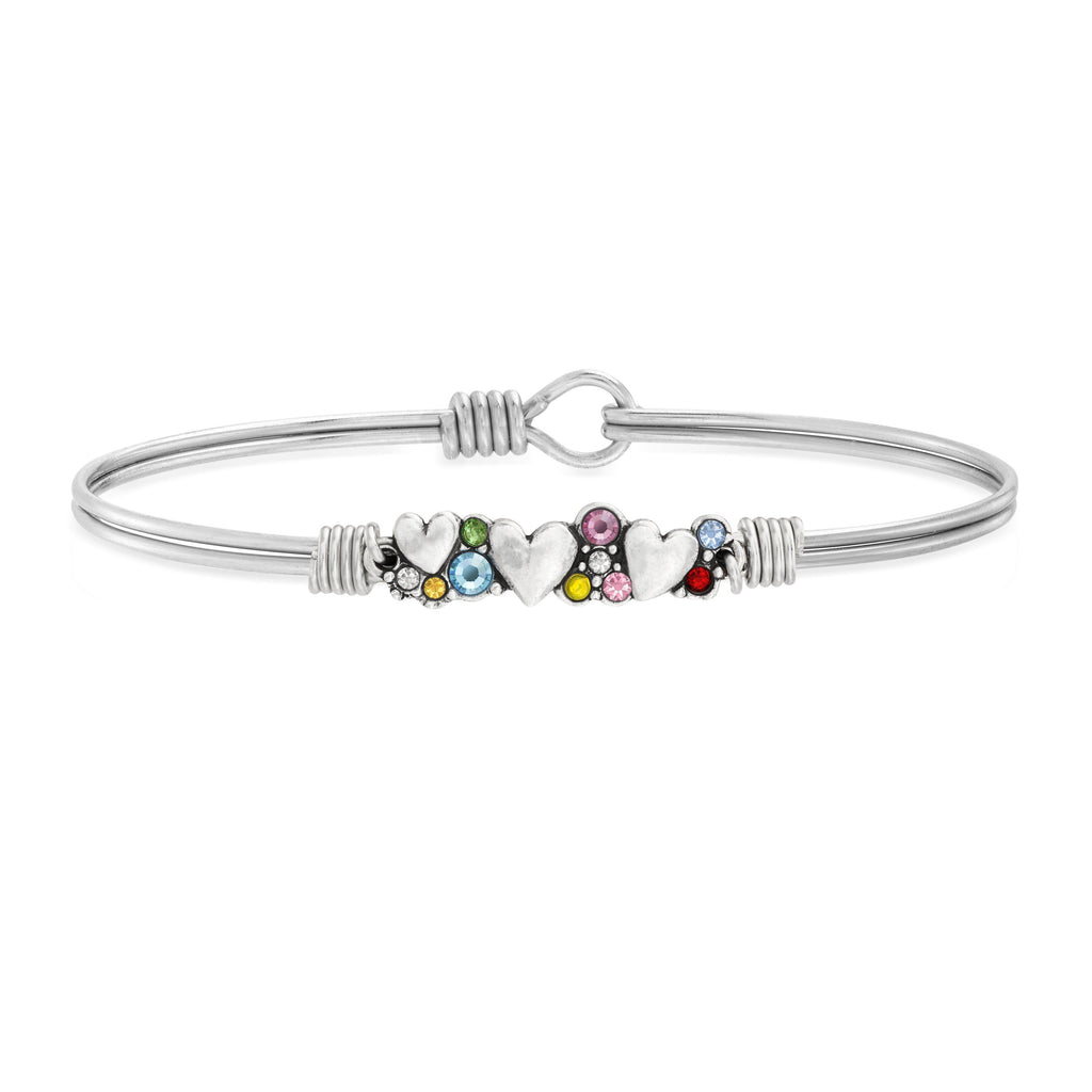 Heart Medley Bangle Bracelet in Rainbow choose finish:silver tone