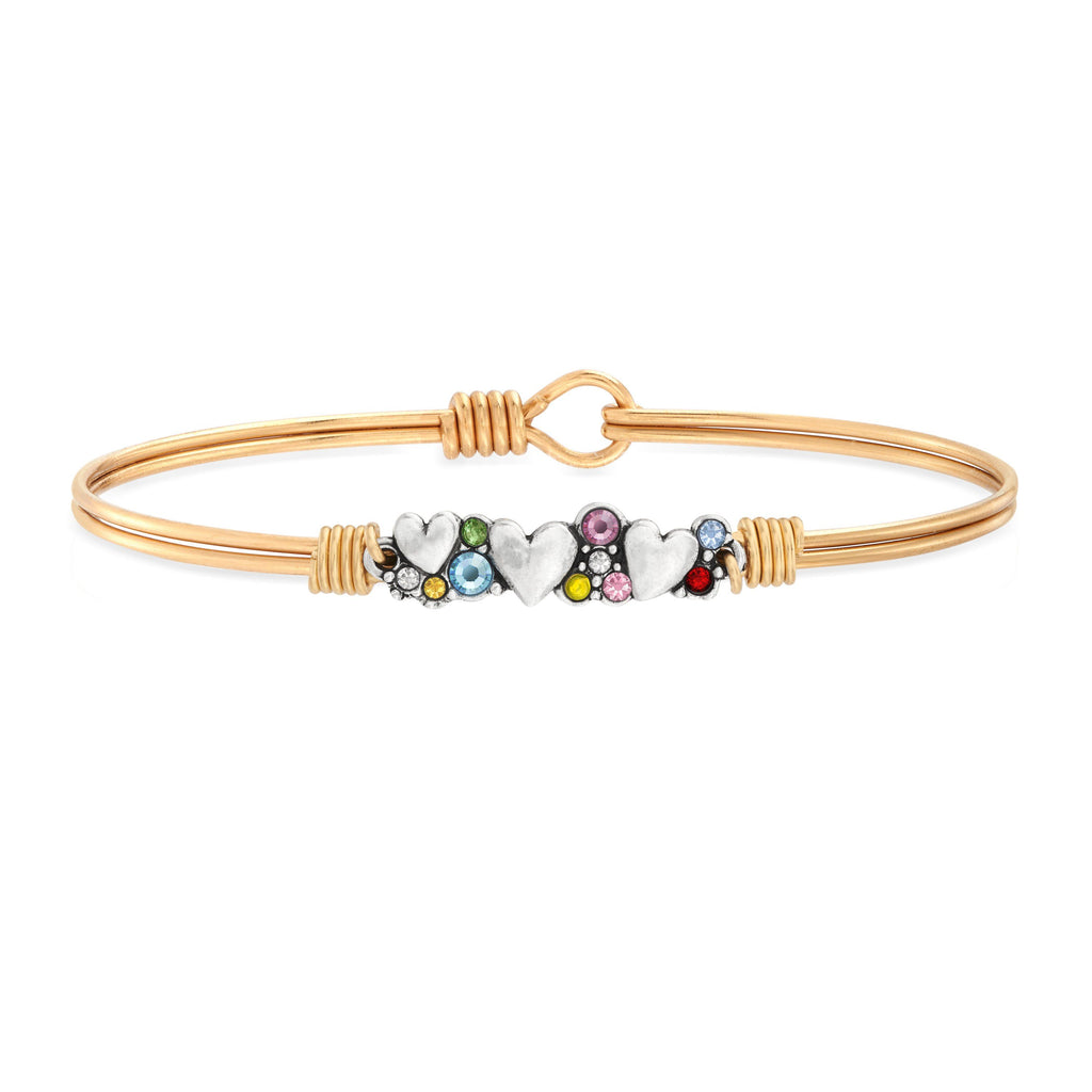 Heart Medley Bangle Bracelet in Rainbow choose finish:brass tone