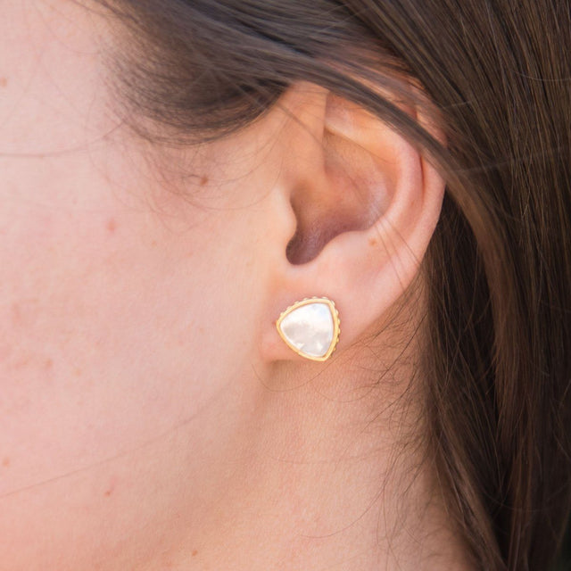 Sterling Silver Trillion Earrings In Mother of Pearl-Precious Metals Earrings-finish:Sterling Silver-Luca + Danni