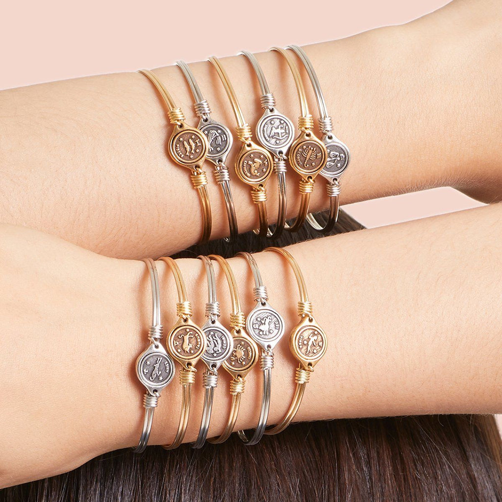 Leo Zodiac Bangle Bracelet choose finish: