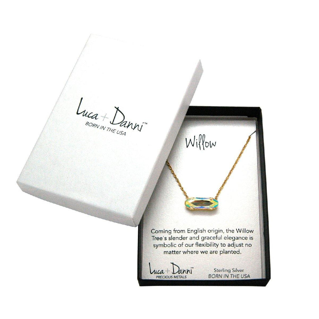 Sterling Silver Willow Necklace In Champagne AB-Precious Metals Pendant-finish:-Luca + Danni