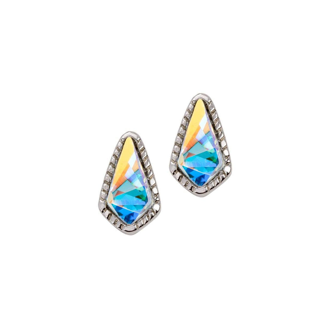 Sloane Stud Earrings In Crystal AB-Earrings-finish:Silver Plated-Luca + Danni