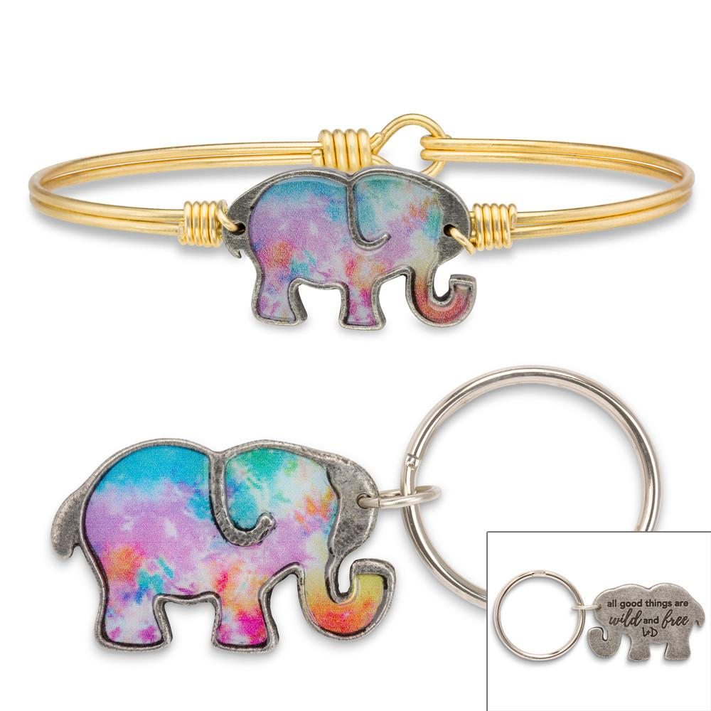 Tie Dye Elephant Bangle Bracelet-Gift Set-Regular-finish:Brass Tone-Luca + Danni
