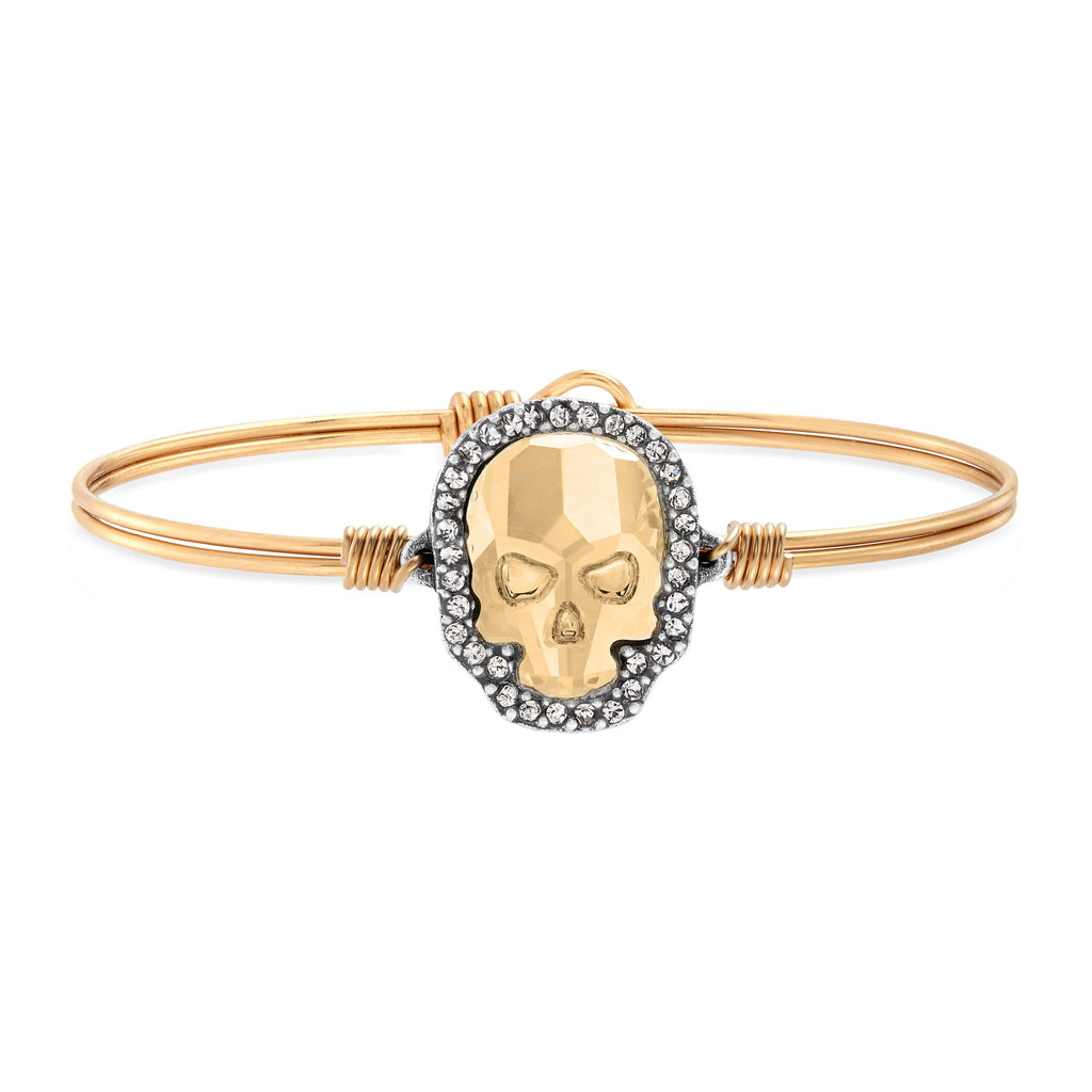 Crystal Pave Skull Bangle Bracelet in Champagne choose finish:Brass Tone