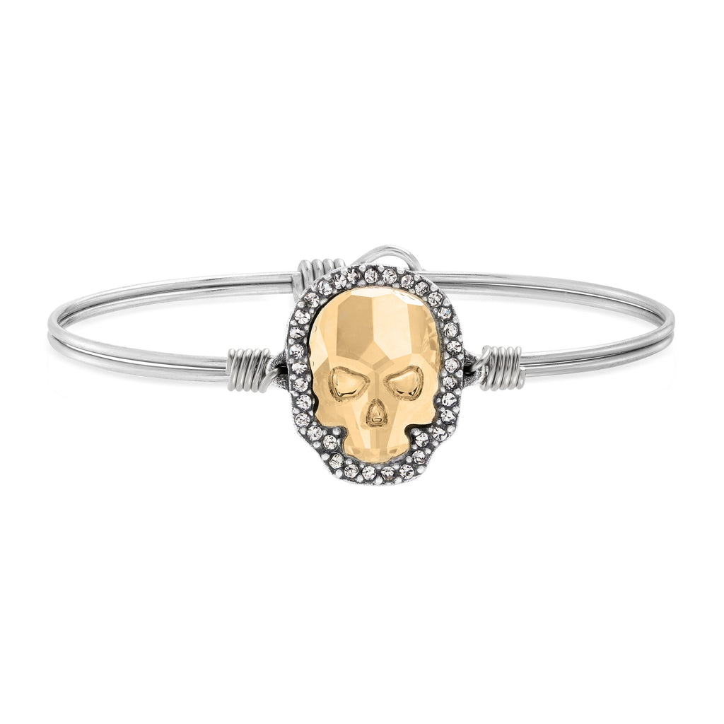 Crystal Pave Skull Bangle Bracelet in Champagne choose finish:Silver Tone