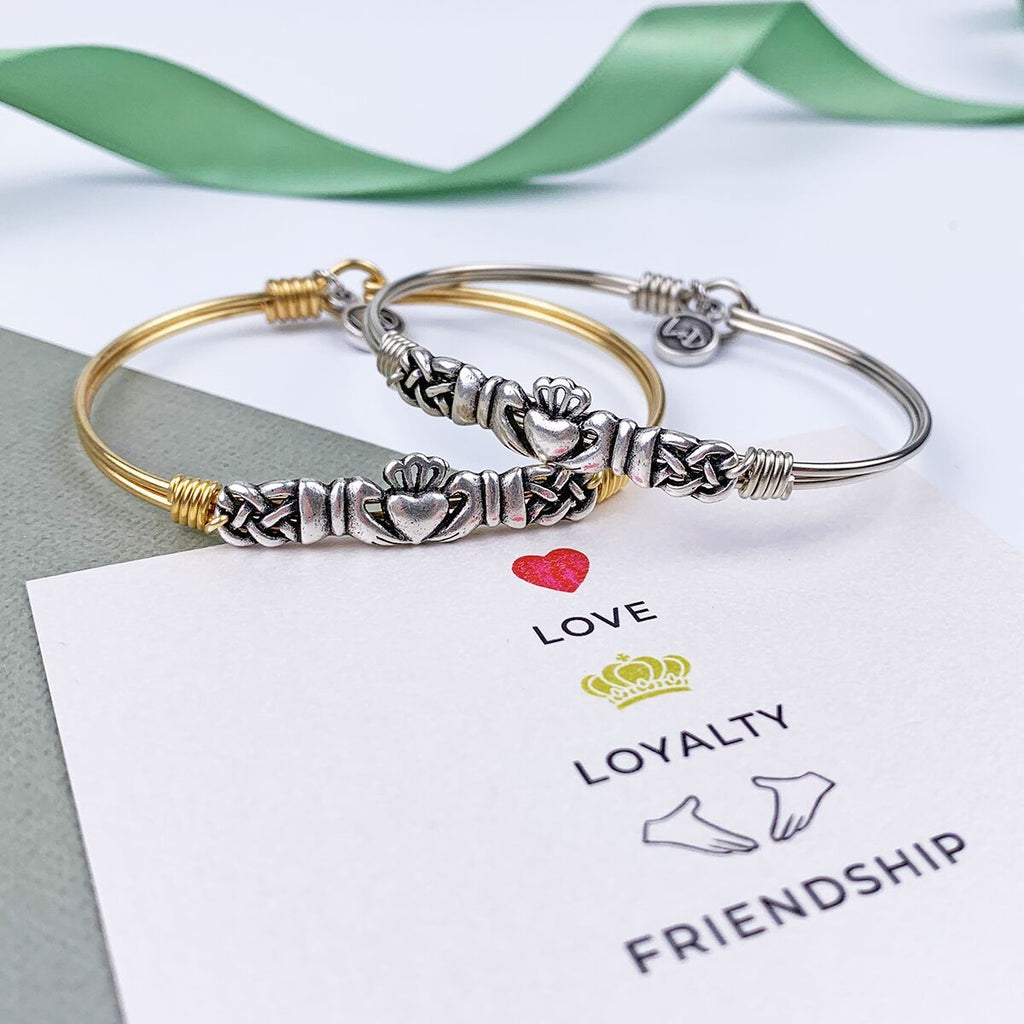 Claddagh Bangle Bracelet choose finish: