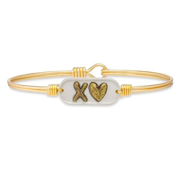 Cross My Heart Bangle Bracelet-Bangle Bracelet-Regular-finish Brass Tone- 3c9515484