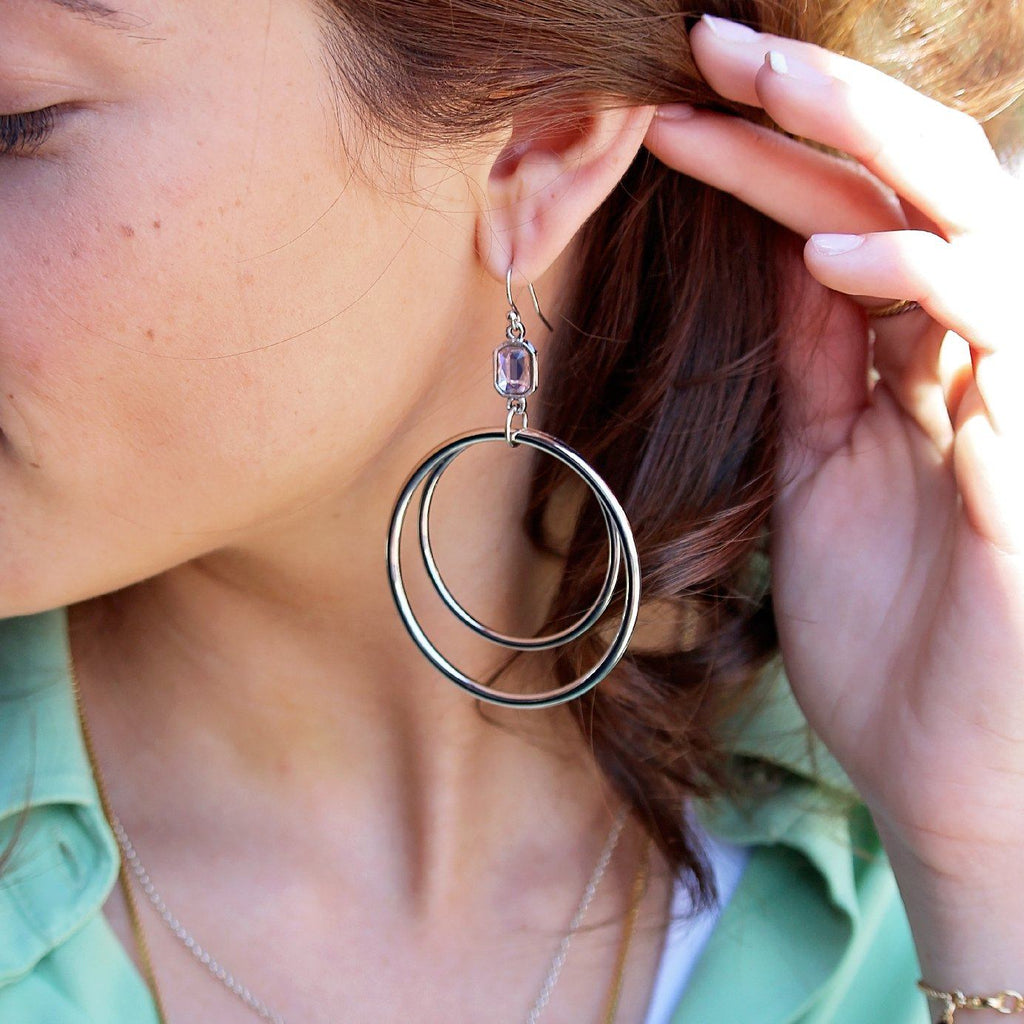 Dylan Hoop Earrings in Vintage Rose-Earrings-finish:Silver Plated-Luca + Danni