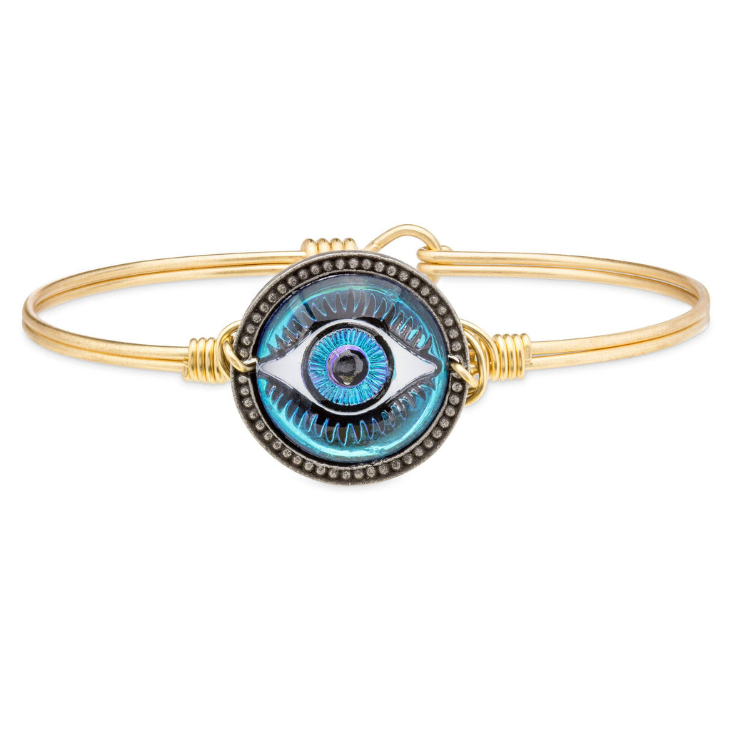Eye Intaglio Bangle Bracelet-Bangle Bracelet-Regular-finish:Brass Tone-Luca + Danni