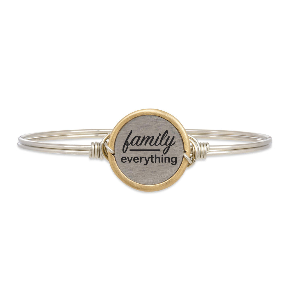 Family Over Everything Bangle Bracelet choose finish:Silver Tone